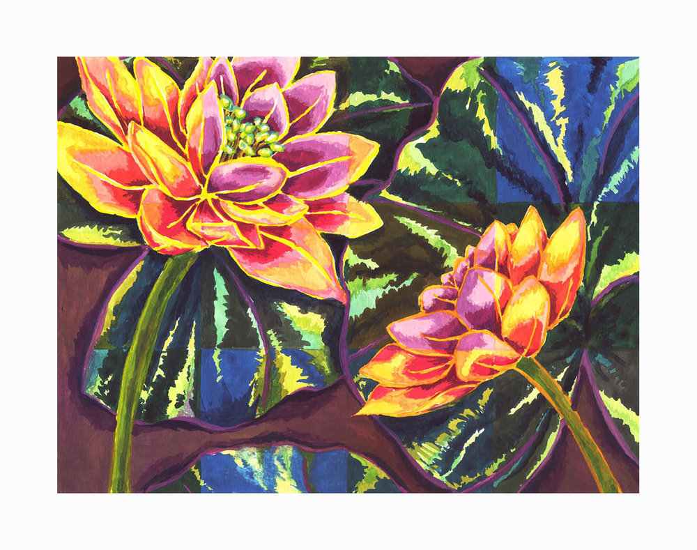 """Water Lilies , Gouache, 5""""x7"""", Private Collection"""