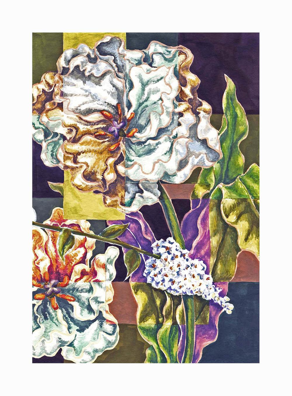 "Double Tulip , Gouache, 8""x6"", $175"