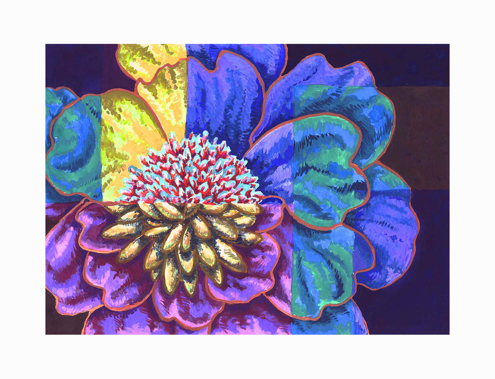 """Floral Geometry 2 , Gouache, 4""""x6"""", Private Collection"""