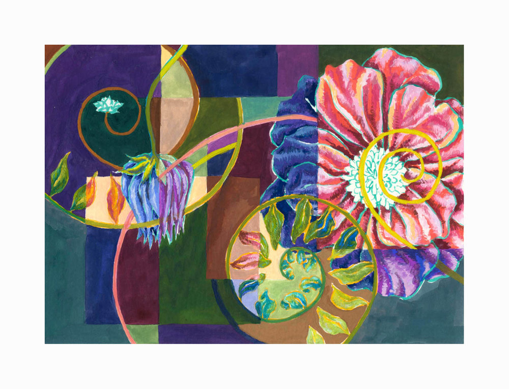 "Floral Swirl 2 , Gouache, 6""x8"", $175"