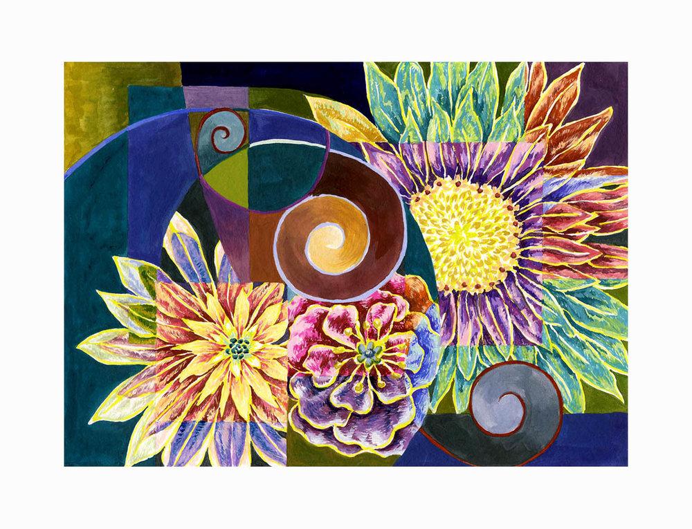 "Floral Swirl , Gouache, 6""x8"", $175"