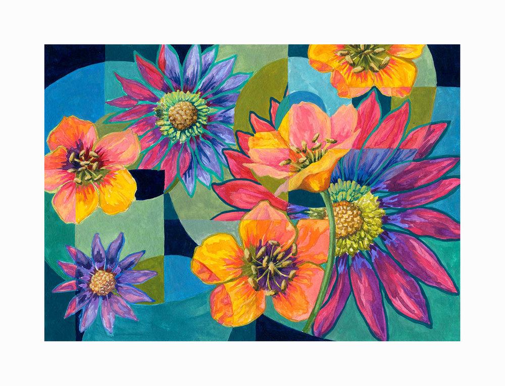 "Floral Swirl 3 , Gouache, 6""x8"", $175"