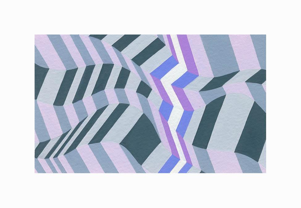 "Zig Zag Waves 1 , Gouache, 3""x6"", $85"