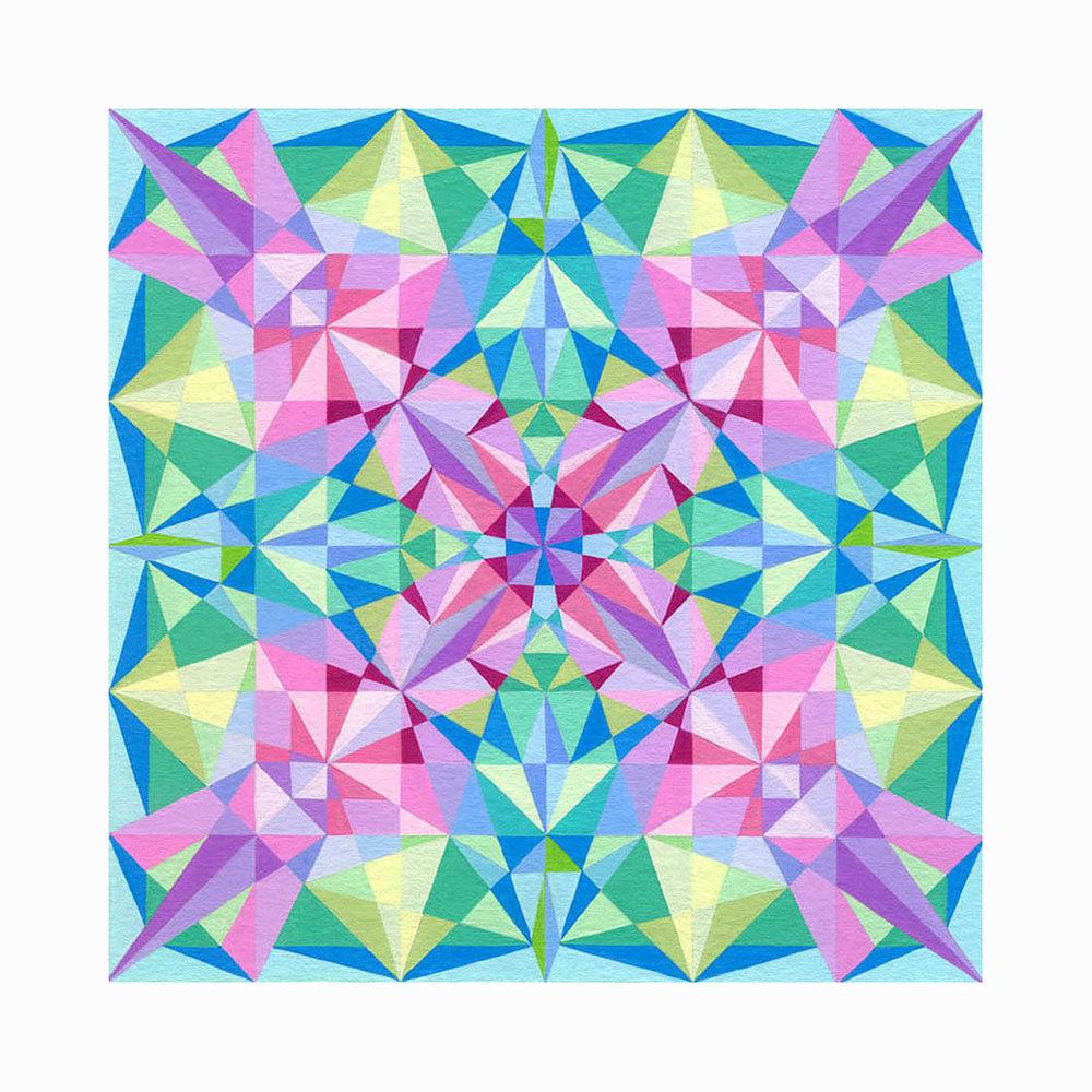 "Squares 1 , Gouache, 6""x6"", $175"