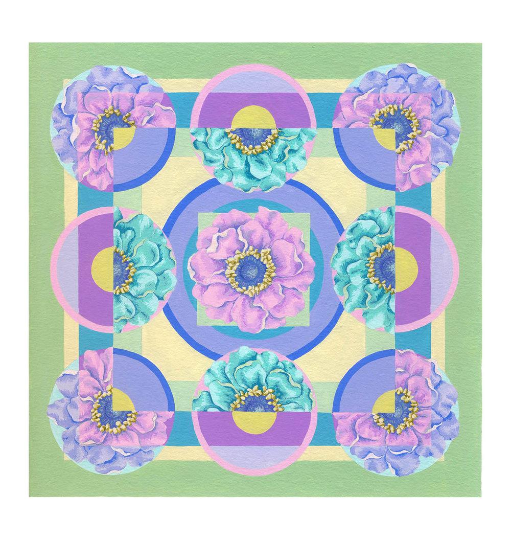 """Floral Square 1 , Gouache, 8"""" x 8"""", $225"""