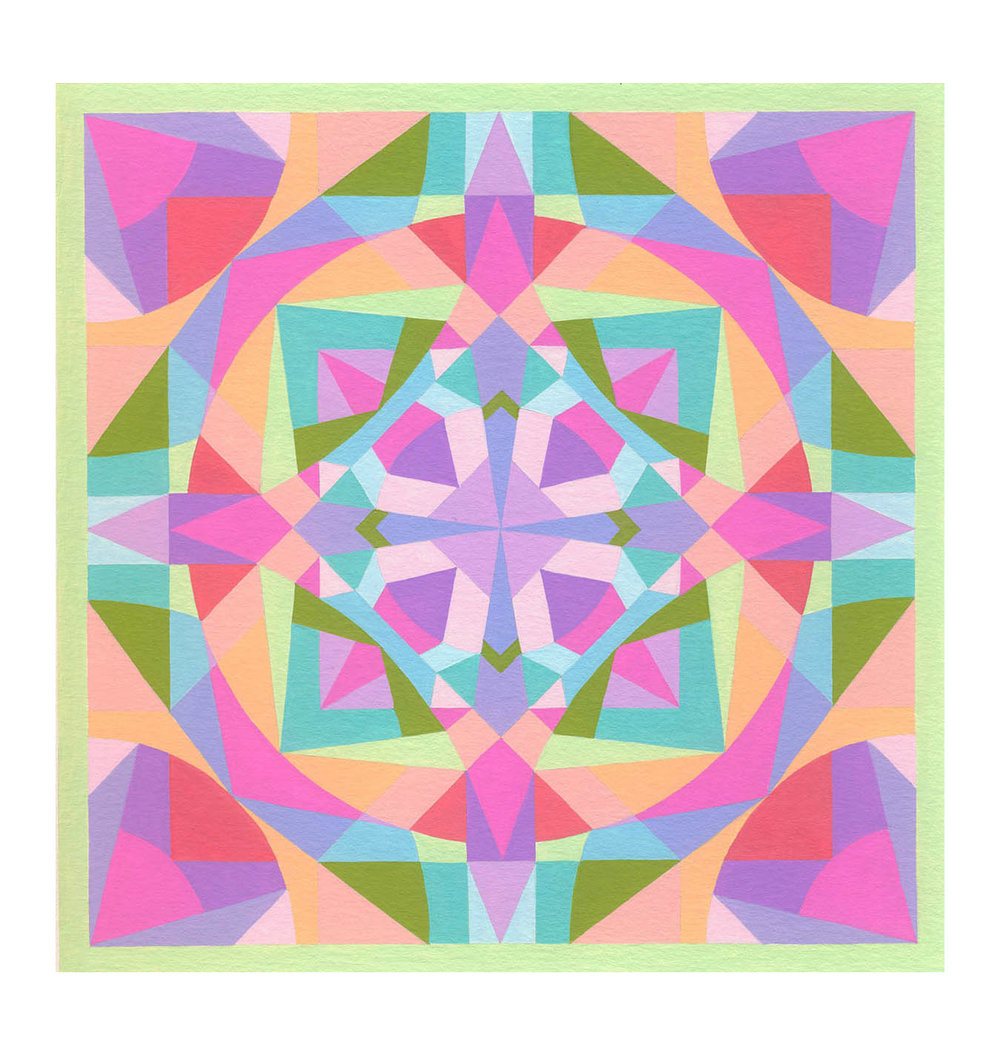 "Squares 6 , Gouache, 8"" x 8"", $225"