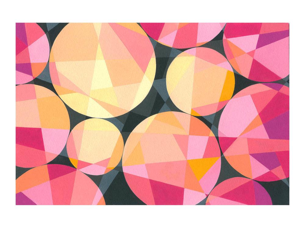 """Sun Spots , Gouache, 6"""" x 9"""", $225"""