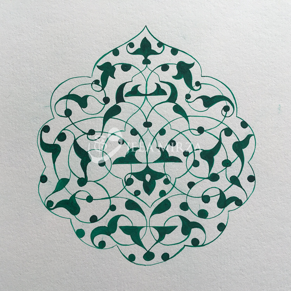 © 2016 Wajeea Mirza.   A Turkish rumi motif painted in viridian hand ground pigment.