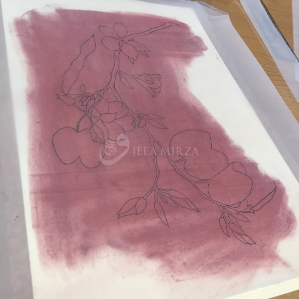6. Red ochre pigment is used to transfer