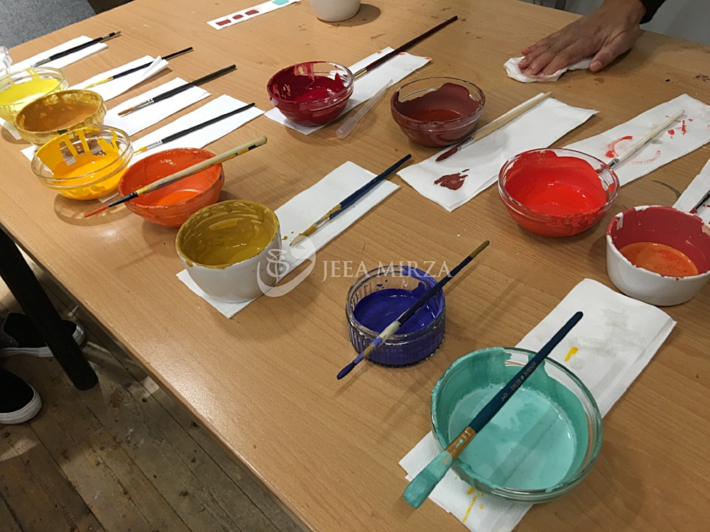 A selection of paints ground by the students during the class