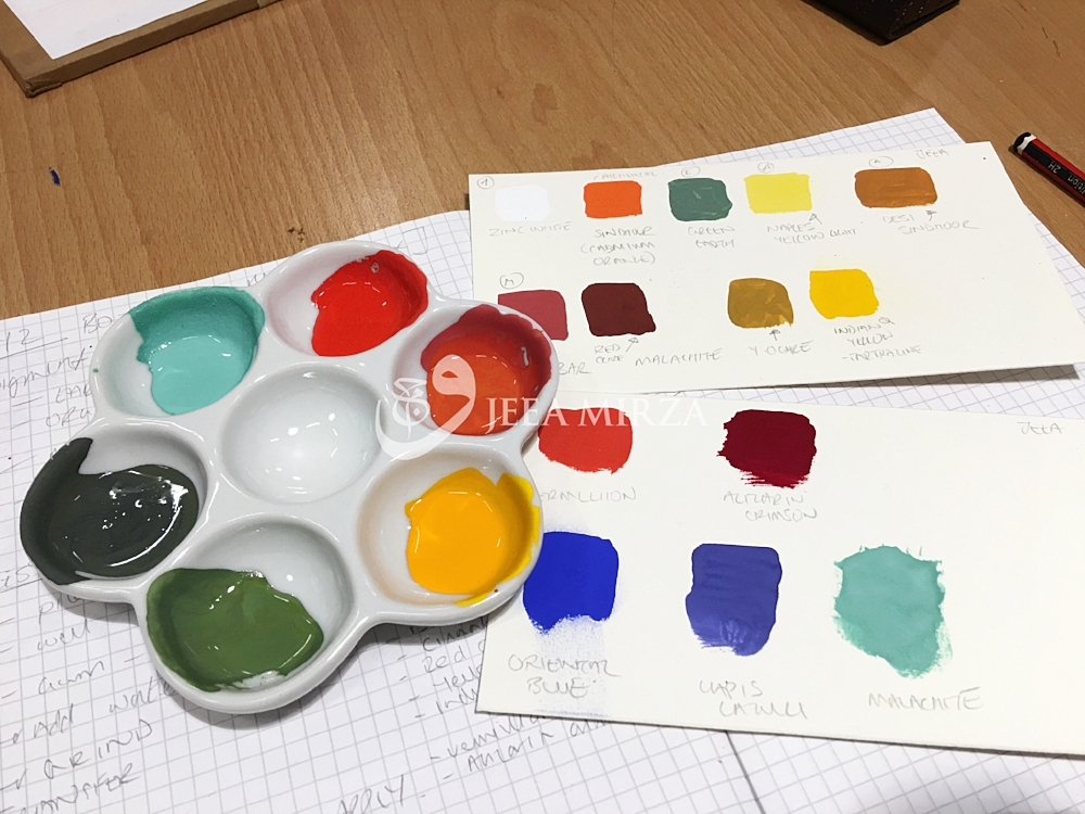 My palette and paint swatches