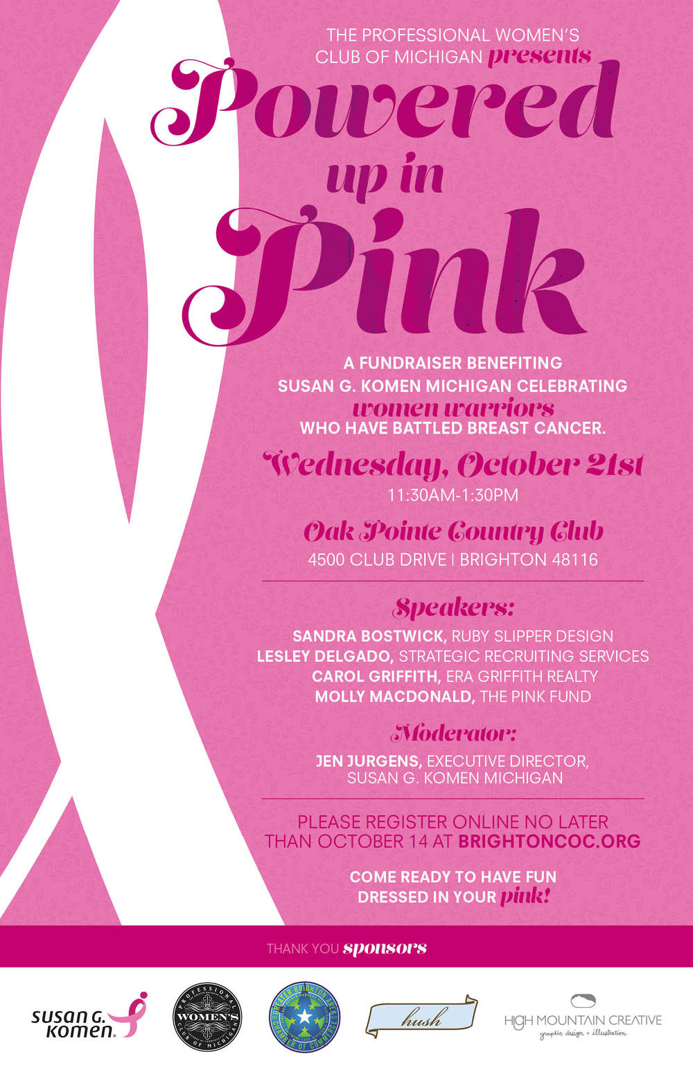 Powered up in Pink Fundraiser Poster for Susan G. Komen and Professional Women's Club of Michigan