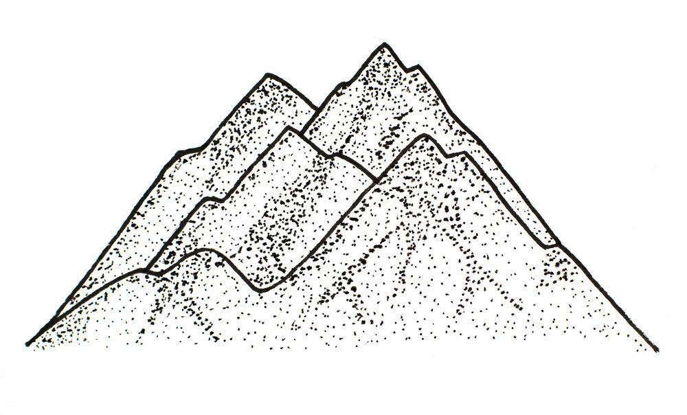 A little dotty mountain that I drew sitting at the bar at Park Distillery while I waited for Isaac to return from Calgary on a phone-finding mission after his got run over in the street.
