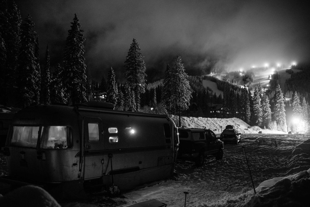 Trixie parked right at the base of Whitefish Mountain. Check out Rico's little dog head in the window.  Photo by:    Isaac Miller Photography