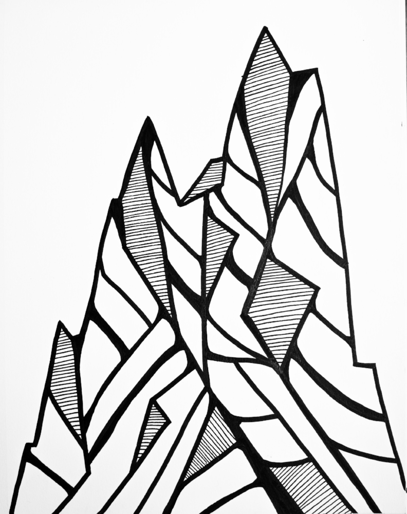 I actually got a lot of work done in Glacier NP because there were no distractions and the weather was too brutal to even want to go outside. These are some mountains I drew from some ski designs for Shaggy's Skis.