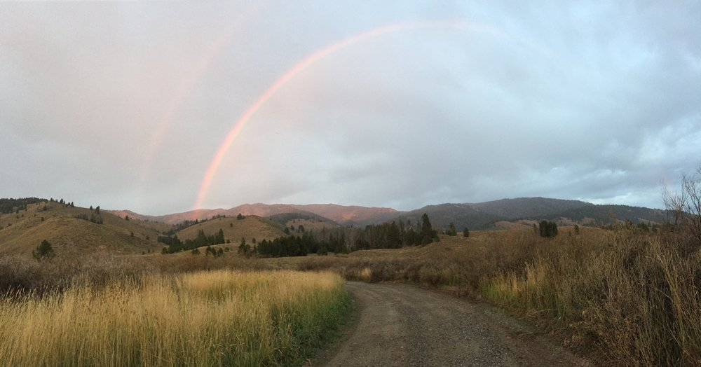 A double rainbow in a remote area of Idaho. Who knows if anyone else even saw it?