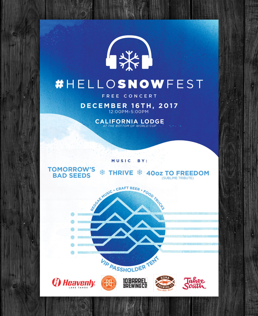 Client:  Heavenly Mountain Resort   Objective:  Develop creative assets for a winter & mountain-themed music festival in Lake Tahoe.