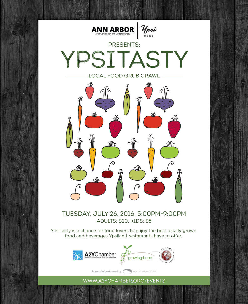 Client:  Growing Hope   Objective:  Design a food-centric poster to invite the Ann Arbor and Ypsilanti community to the restaurant-crawl-themed fundraiser Ypsi Tasty.