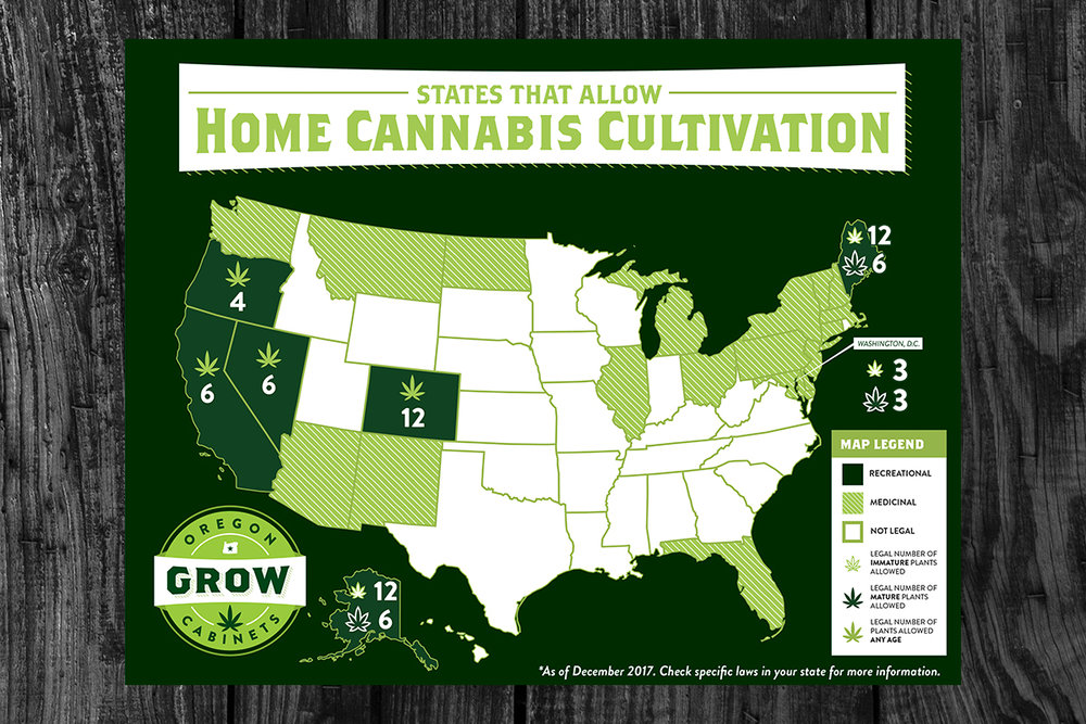 Client:  Oregon Grow Cabinets   Objective:  Create a labeled map of the United States depicting the states that have legalized home growing of medical and recreational marijuana.