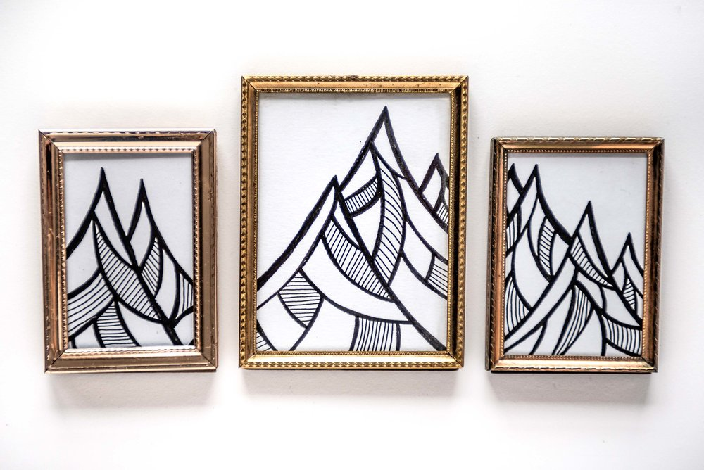 """These little pieces are 2.3""""x3"""" and 3.5""""x5"""". The frames were collected from yard sales and second-hand stores over the years just waiting for the perfect opportunity to get used for a mini art project."""