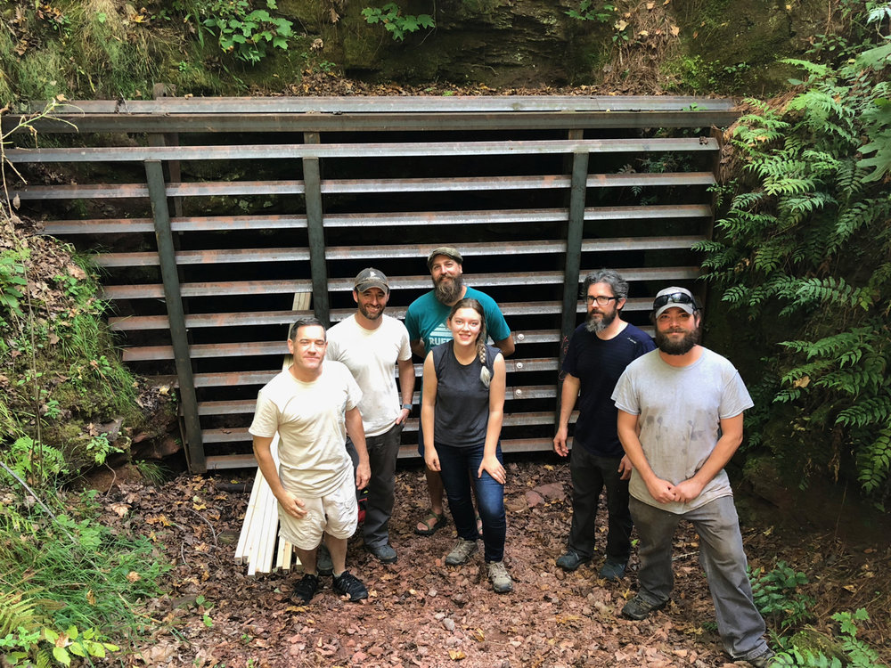 Nick Sharp of Alabama Department of Conservation and Natural Resources with the Bat Conservation International subterranean research team and Ruffner staff