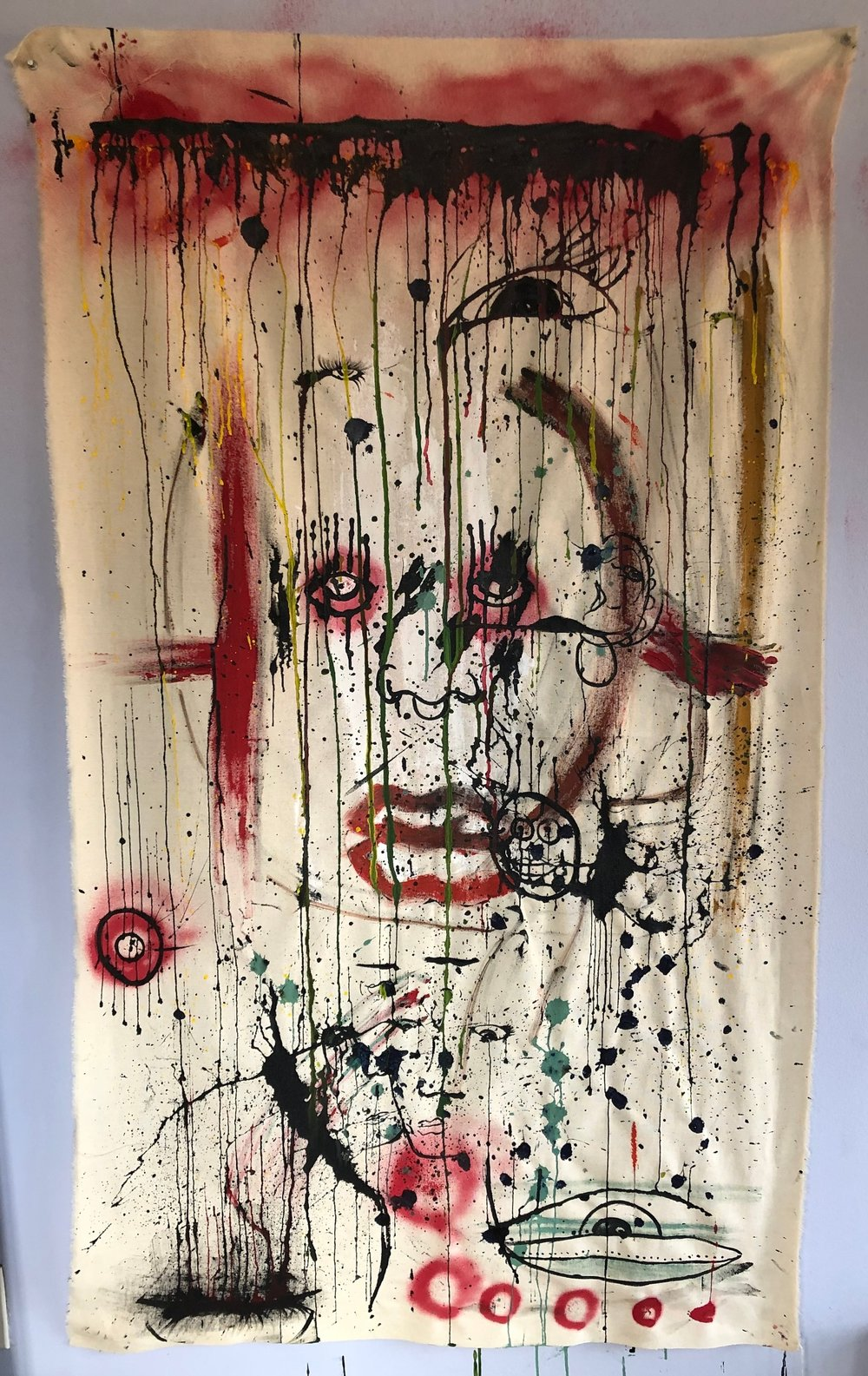 """A Man of A Thousand Faces""  Acrylic and Enamel on unprimed canvas  Price: $3500"