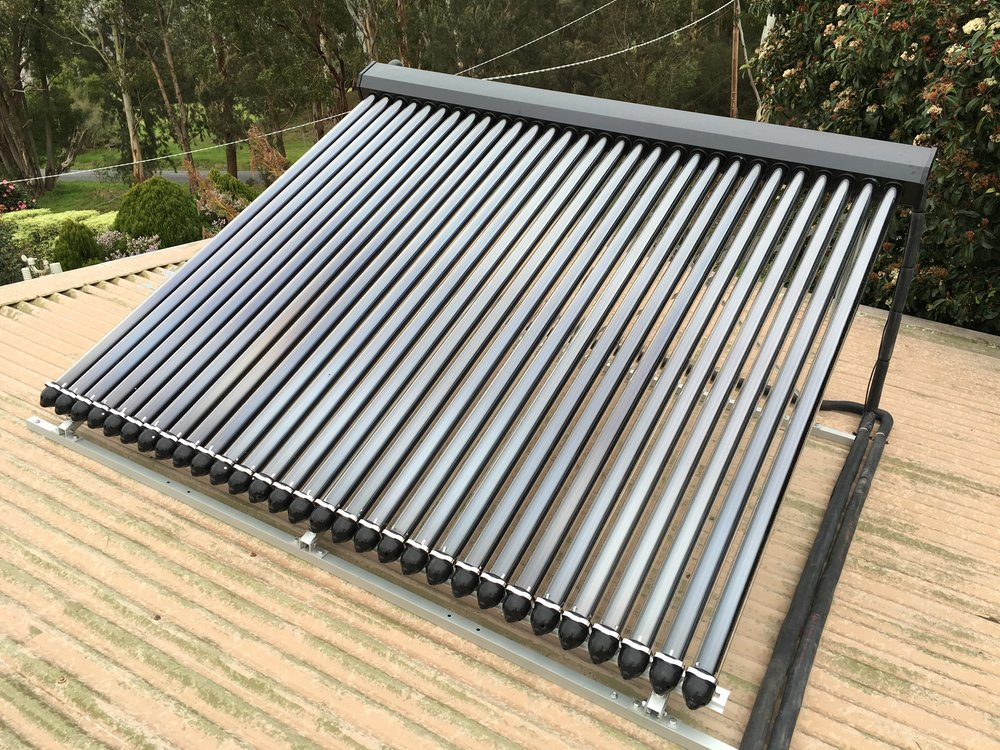 Solar Hot Water Evacuated Tube Heat Pipe Collector installed in the Yarra Valley by Zenplumb