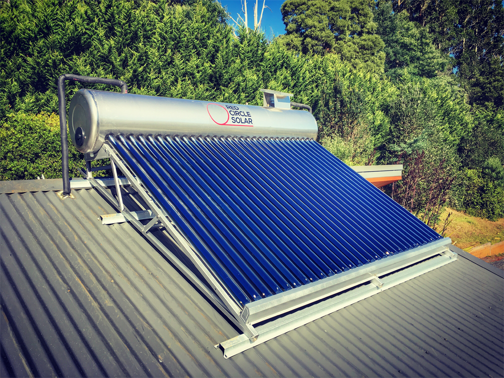 Wet Tube Solar Hot Water Close-Coupled Design installed in the Yarra Valley by Zenplumb.