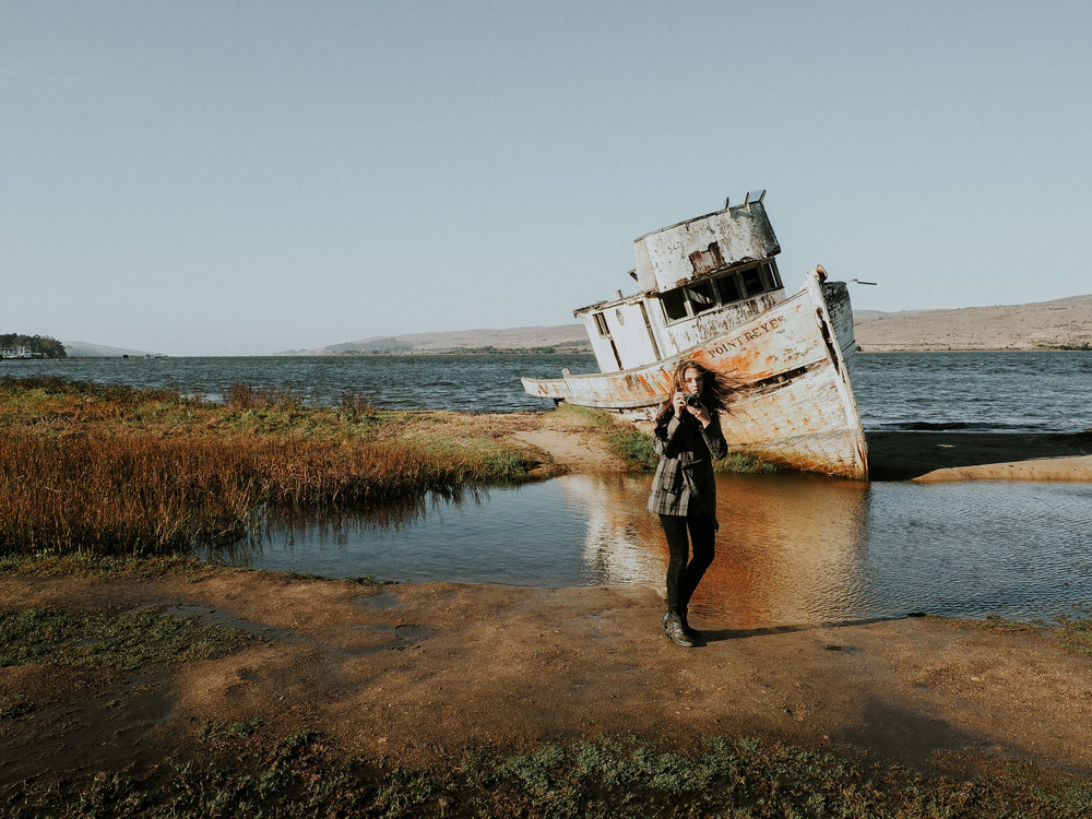 Sara shooting the Shipwreck // Inverness, CA