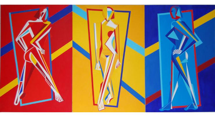 "Triple Nude (triptych) 48""x96"" acrylic on board"