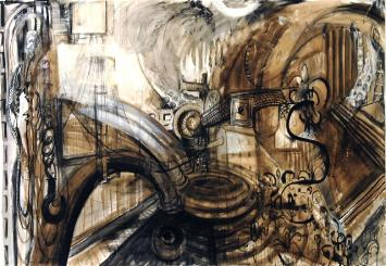 "New Amsterdam- A Time Warp 89""x52.5"" walnut ink, sumi ink, charcoal, and acrylic on Arches paper"