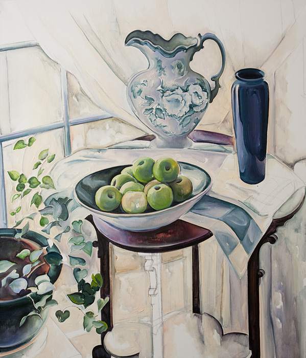 Green Apples in Shallow Bowl, oil on linen, 40 X 36 inches
