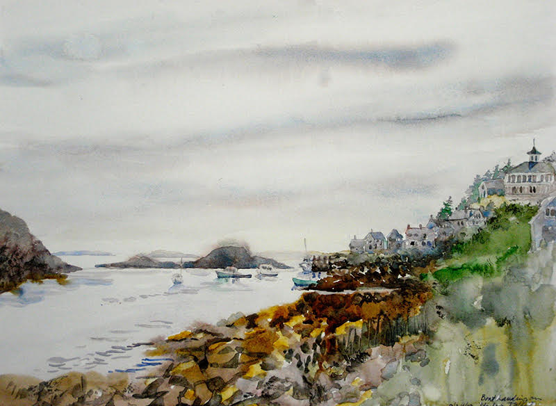 Boat Landing On Monhegan Island, watercolor on paper 18 ix 24 inches