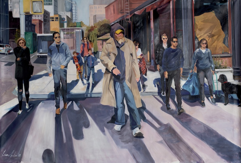 Walk, Don't Walk, oil on canvas, 60 x 87 inches, 2017