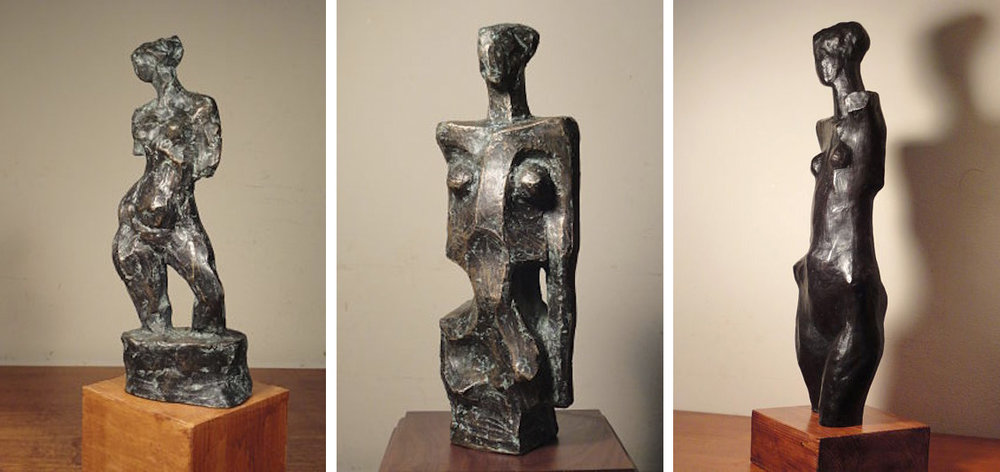 Left:  Standing Figure , cast bronze, 8.5 inches high, 2018 Center:  Standing Figure , cast bronze, 10 inches high, 2018 Right:  Standing Figure , cast bronze, 26 inches high, 2016