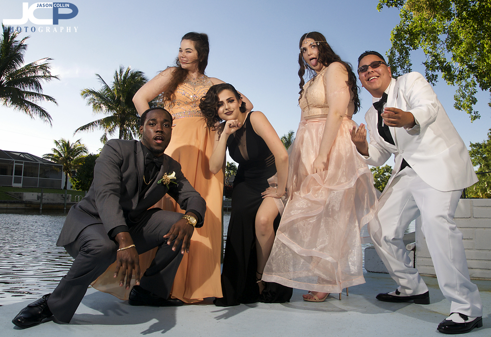 Marvin and friends needed no coaching to come up with pose after pose in group shots before the senior prom in Cape Coral - Nikon D300 with Tamron 17-50mm @ f/8 1/250th ISO 200 - Strobist: SB-800 & SB-600 with diffuser caps