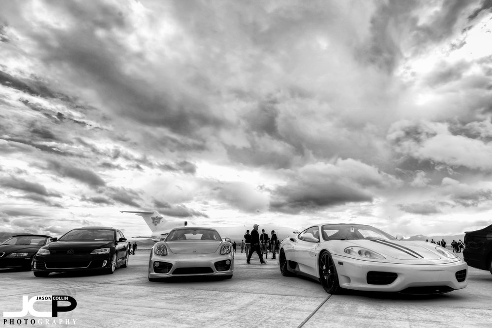 Only one Ferrari at this event, an older model, the 360 Modena next to a Porsche Cayman - Nikon D750 with Tamron 15-30mm @ f/11 ISO 100 7-bracket HDR tripod mounted with cable release