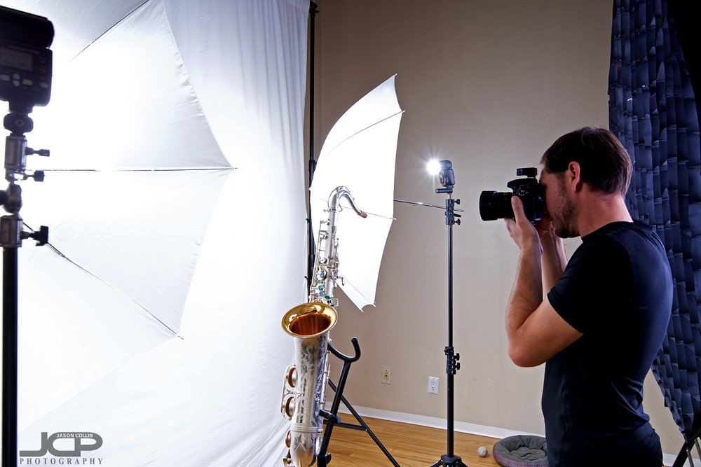 """That's the big 55"""" octagon softbox behind me as photograph a saxophone in my Home Studio"""