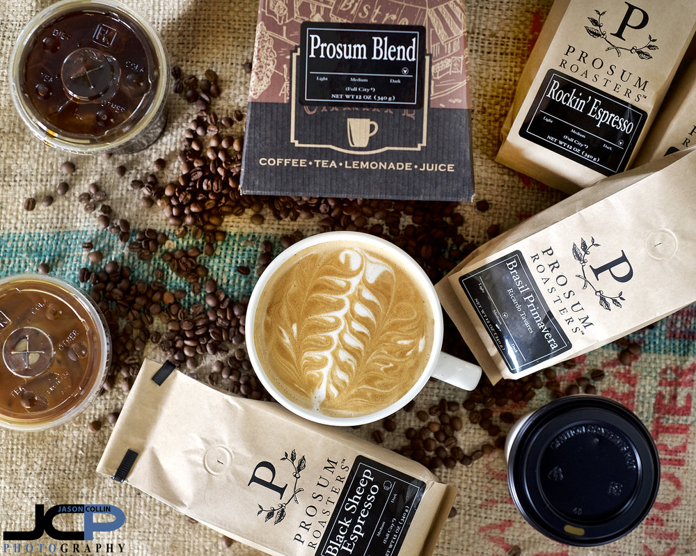 Hero Shot of different coffees you can get at Prosum Roasters - Nikon D750 with Nikkor 50mm f/1.8D @ f/4 1/60th ISO 800