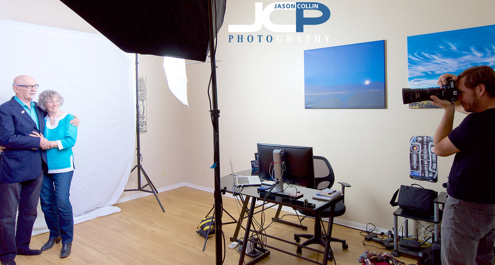 Behind the scenes at a headshot shoot at the Jason Collin Photography Home Studio in Albuquerque New Mexico - photo by Jessica