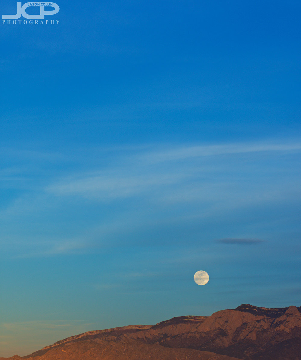 Moonrise over the Sandia Mountains available for fine art print in Albuquerque, New Mexico - Nikon D7200 with Nikkor 80-200mm f/2.8D