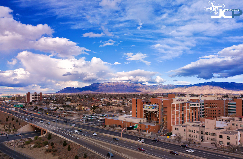 Drone Photo of Albuquerque New Mexico showing I-25 and Sandia Mountains - photo by DJI Mavic Pro with Polarpro ND4 filter