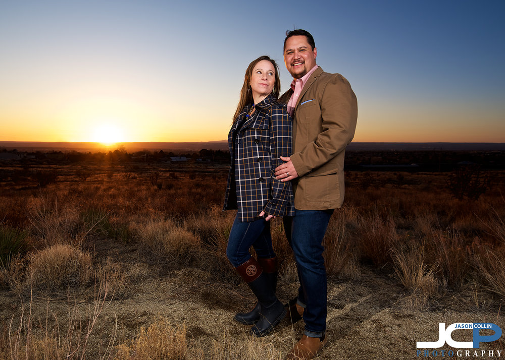 "Romantic sunset couple portrait in Albuquerque New Mexico - Nikon D750 with Tamron 15-30mm @ f/6.1 1/160th ISO 100 - Strobist:  SB-800 in 32"" octosoftbox and SB-600 with cap diffuser triggered by Pocket Wizard Flex TT5"