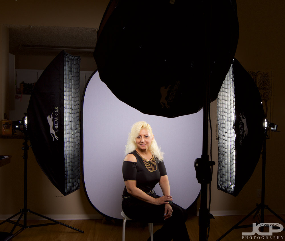 "Going for a max light setup with the Cheetahstand 36"" RiceBowl and two Cheetahstand 12""x55"" Quick Strip Boxes for this JCP Home Studio headshot shoot in Albuquerque New Mexico"