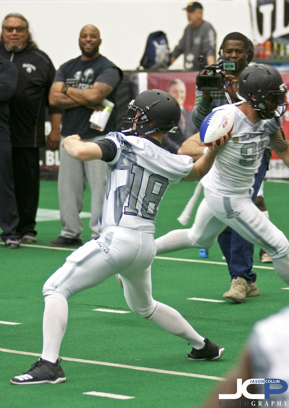 Albuquerque, New Mexico Mayor Tim Keller warms up to play quarterback for the Duke City Gladiators