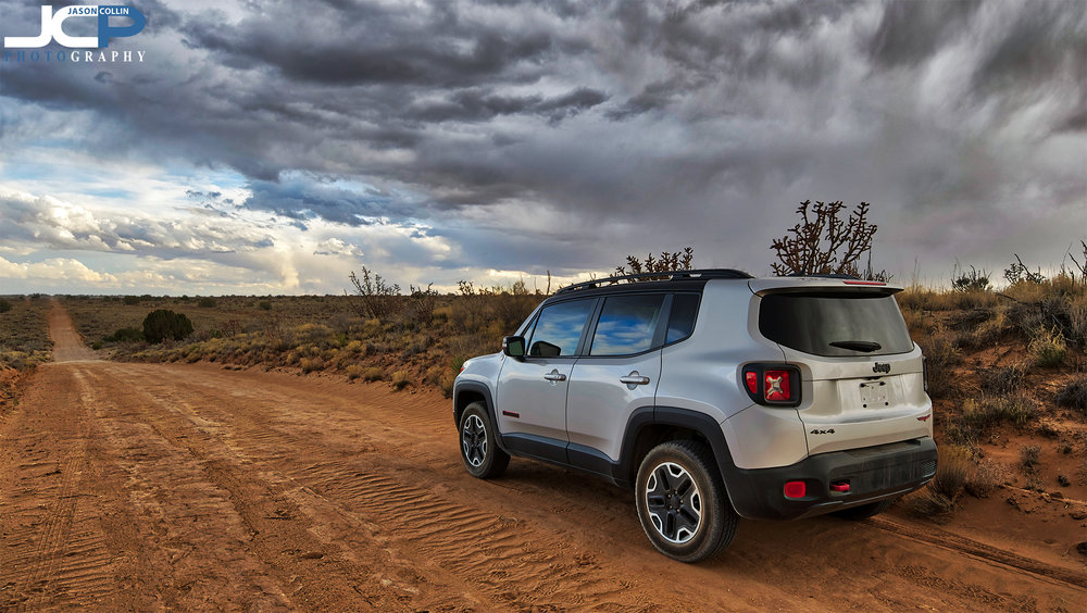 The Jeep Renegade Trailhawk out on its first rural land property shoot with me in very remote Rio Rancho, New Mexico on a stormy evening.