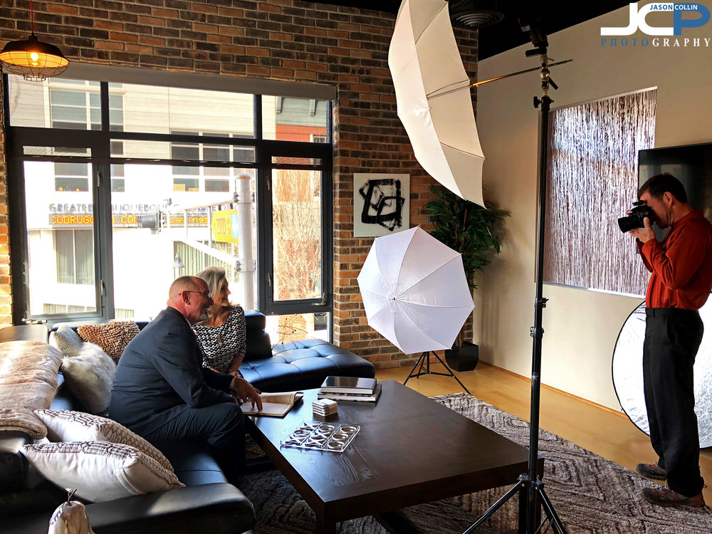 Behind the scenes of a commercial portrait photo session in Albuquerque New Mexico