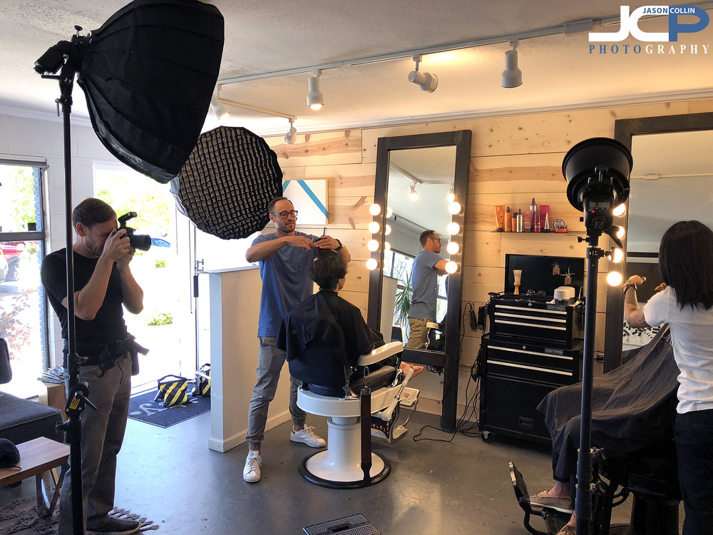 BTS of the 3-light setup I used to make commercial portraits at a hair salon in Albuquerque, New Mexico