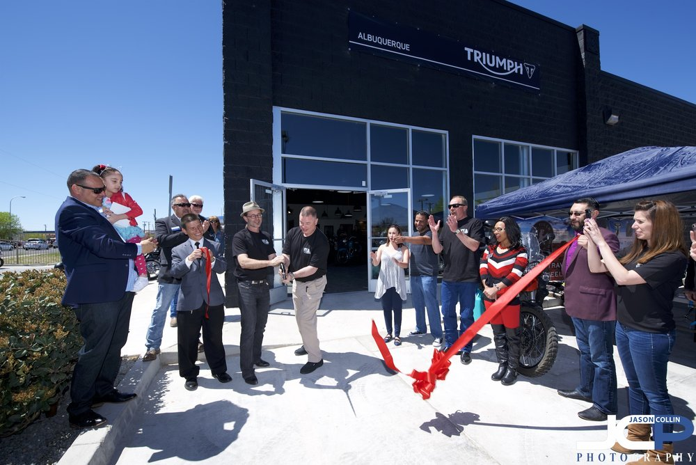 Ribbon Cutting for the grand opening of Triumph Motorcycles in Albuquerque New Mexico