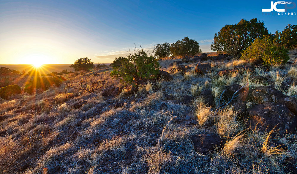 Hilly topography in Grants, New Mexico fine art sunset photo available for prints and commercial license usage -- Nikon D750 with Tamron 15-30mm f/2.8 SP tripod mounted 5-bracket HDR